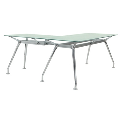 "Brilliant Glass Top L Desk - 71""Wx65""D"