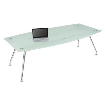 "Brilliant Boat-Shape Glass Table - 95""Wx48""D"