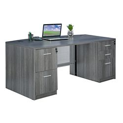 "At Work Bow Front Desk - 72""W x 36""D"