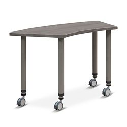 "Valuemax Pie-Shaped Mobile Adjustable-Height Table - 44.5""W x 23.5""D"