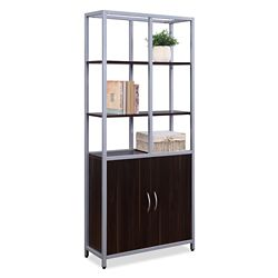 "Compass 72""H Five-Shelf Bookcase with Doors"