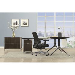"Astoria Two-Tier 60""W L-Desk with Reversible Return and Lateral File"