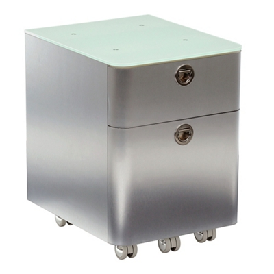 """Brilliant 17""""H Two Drawer Mobile Glass Top Mobile Pedestal"""