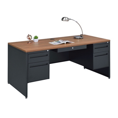 """Carbon Double Pedestal Desk with Center Drawer - 66""""W"""