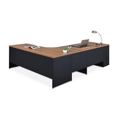 Carbon L-Desk with 2-Drawer Pedestal and Left Return