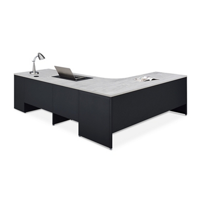 Carbon L-Desk with 3-Drawer Pedestal and Right Return