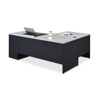 Carbon J-Desk with 3-Drawer Pedestal and Left Return