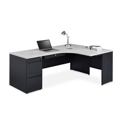 Carbon J-Desk with 2-Drawer Pedestal and Right Return