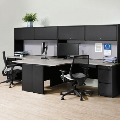 Carbon Two Person Workstation with Hutch