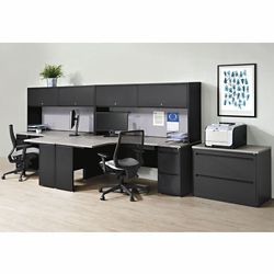 Carbon Two Person Workstation with Hutch and File