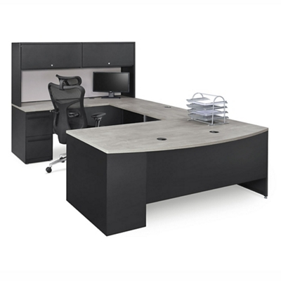 Carbon U-Desk with Hutch