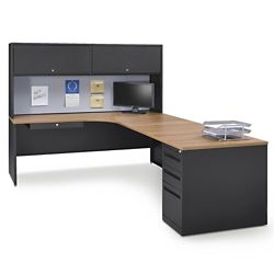 Carbon L-Desk with Hutch - Right Return