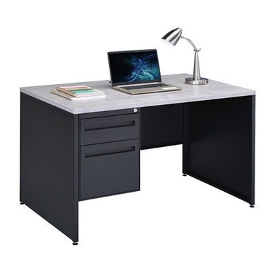 "Carbon Compact Single Pedestal Laminate Top Steel Desk 48""W x 30""D"