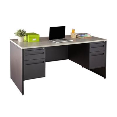 """Carbon Double Pedestal Laminate Top Steel Desk - 66""""W x 30""""D"""