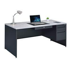 "Carbon Single Pedestal Steel Desk with Center Drawer - 66""W"