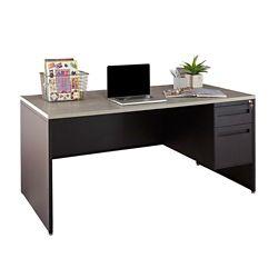 """Carbon Single Pedestal Laminate Top Steel Desk 66""""W x 30""""D"""