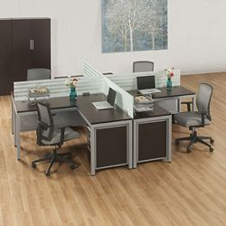 At Work Four Person Compact Workstation Set