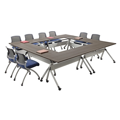 "At Work Set of Six Flip Top Training Tables 60""W x 24""D"
