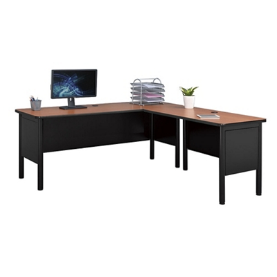 "Stahl Steel L-Desk Shell with Laminate Top - 72""W x 72""D"