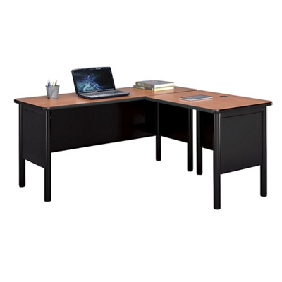 "Stahl Compact Steel L-Desk Shell with Laminate Top - 60""W x 60""D"