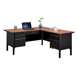 "Stahl Steel Double Pedestal L-Desk with Center Drawer - 66""W x 72""D"