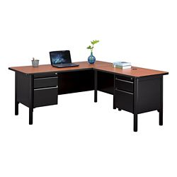 "Stahl Steel Double Pedestal L-Desk with Laminate Top - 66""W x 72""D"