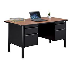 "Stahl Steel Double Pedestal Desk with Laminate Top - 60""W"