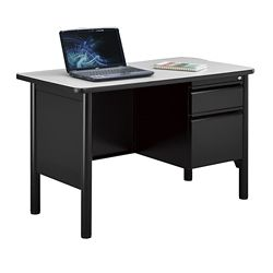 "Stahl Steel Single Pedestal Desk with Laminate Top - 48""W x 24""D"