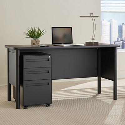 Stahl Steel Compact Desk with Laminate Top and Mobile Pedestal