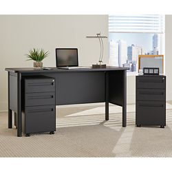 Stahl Steel Compact Desk with Laminate Top and Two Mobile Pedestals