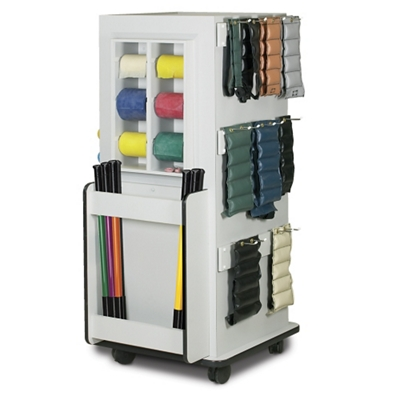 "Mobile Physical Therapy Equipment Cabinet with Weight Bar Rack  - 65""H"