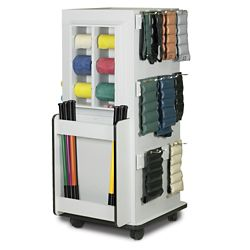 """Mobile Physical Therapy Equipment Cabinet with Weight Bar Rack  - 65""""H"""