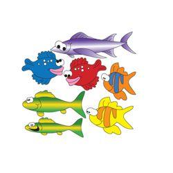Seven Swimming Fish Pediatric Wall Stickers