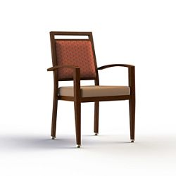 Square Back Dining Chair with Faux Wood Aluminum Frame