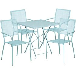 """28"""" Folding Table and Four Stacking Chairs"""