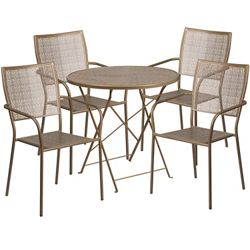 "30"" Folding Table and Four Stacking Chairs"