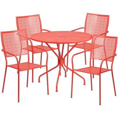 "35.25"" Table and Four Armchair Set"