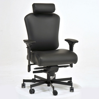 Ergonomic 24/7 Intensive Use Genuine Leather Chair with Headrest