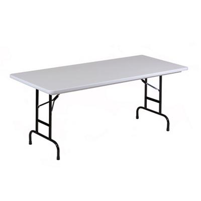 "Lightweight Adjustable Height Plastic Folding Table - 72""W x 30""D"