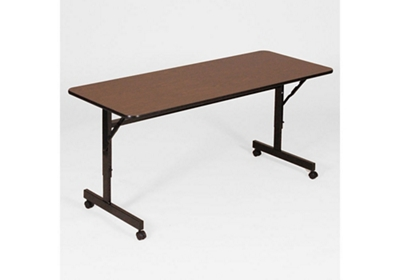 "Melamine Flip Top Table with Adjustable Height Legs 24"" x 60"""