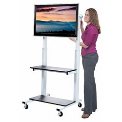 Crank Height Adjustable Mobile Flat Panel Monitor Cart