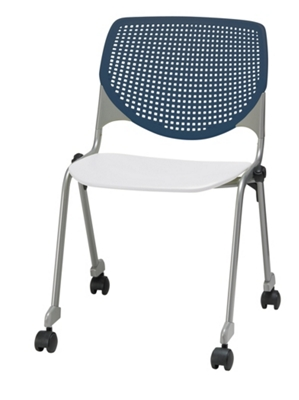 Perforated Back Polypropylene Stack Chair with Casters