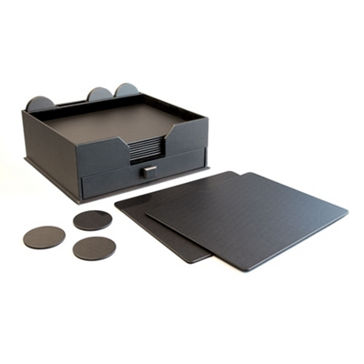 23 Piece Leather Conference Room Accessory Set with Drawer Organizer