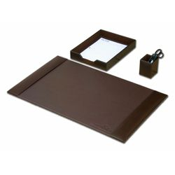 Three Piece Bonded Leather Desk Accessory Set