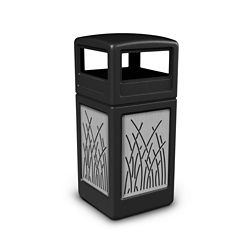 Dome Lid Waste Receptacle with Reed Design - 42 Gallon