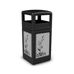 Dome Lid Waste Receptacle with Cattail Design - 42 Gallon