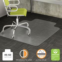 "Commercial Quality Chair Mat with Lip 45""W x 53""D for Carpet Floors"
