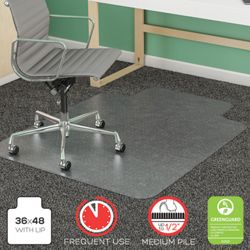 "Commercial Quality Chair Mat 36""W x 48""D for Carpet Floors"