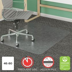 "Frequent Use Chair Mat 46""W x 60""D for Carpet Floors"