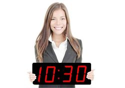 "Digital LED Clock with 5"" Red Numerals - 20""W"